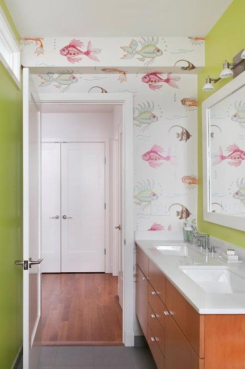 Nina Campbell Aquarium Wallpaper  Contemporary  bathroom