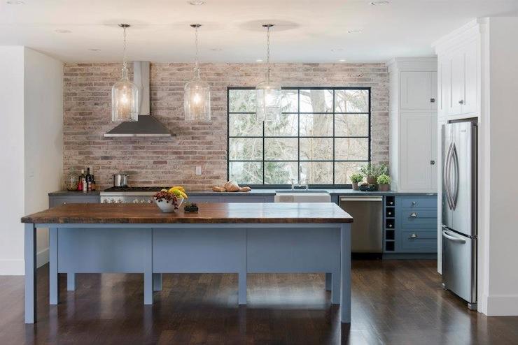 brick kitchen backsplash farmhouse table sets contemporary pinney designs