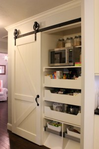 Kitchen pantry with Sliding Barn Door