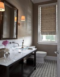 Taupe Grasscloth Wallpaper - Contemporary - bathroom ...