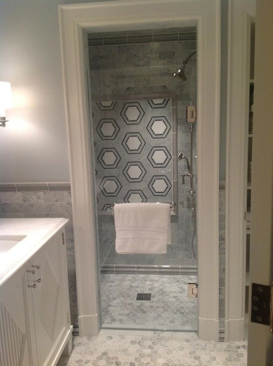 Gray Marble Hex Floor Tile Design Ideas