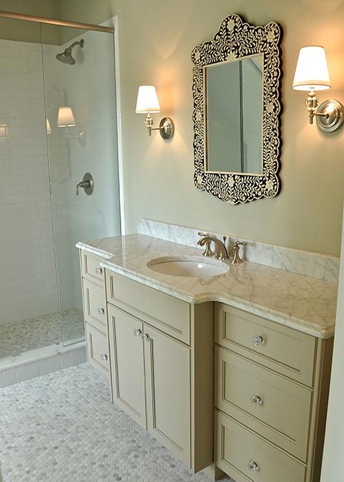 Bone Inlay Mirror Traditional Bathroom L Kae Interiors