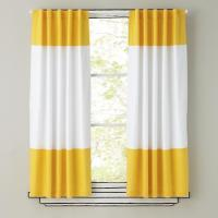 Yellow and White Curtain Panels - The Land of Nod