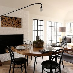 White Round Kitchen Table With 4 Chairs French Bistro Chair Floor To Ceiling Brick Fireplace Design Ideas