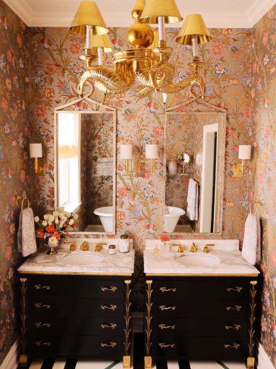 Metallic Floral Wallpaper  Eclectic  bathroom  Summer