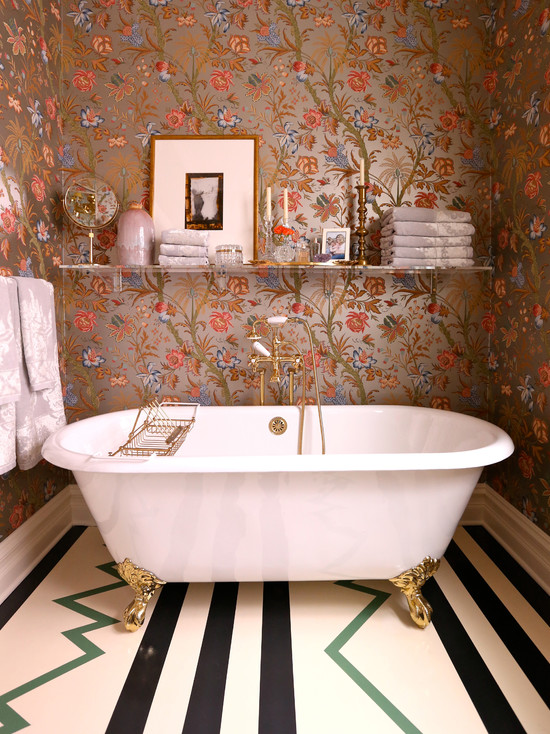 Friends Boy And Girl Wallpaper Floral Metallic Wallpaper Eclectic Bathroom Summer