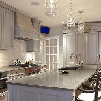 Kitchens Gray Washed Secretary Cabinet Design Ideas