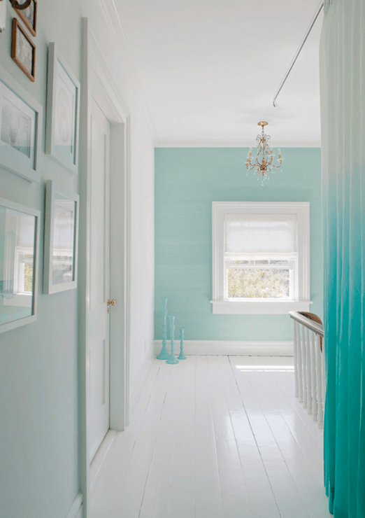Turquoise Ombre Curtains  Eclectic  entrancefoyer