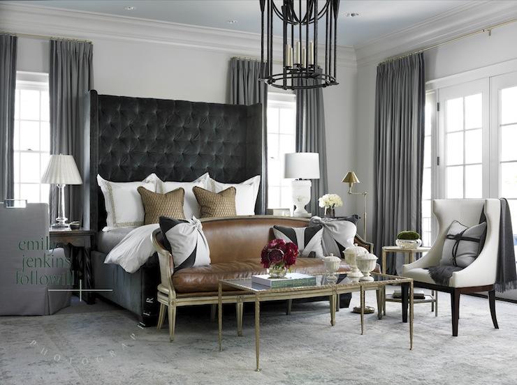 Dark Gray Velvet Headboard  Transitional  bedroom