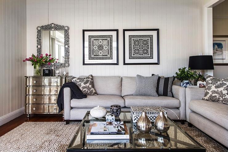 Light Gray Sofas  Transitional  living room  Highgate House