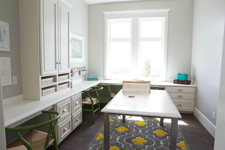 Kids Homework Room with Built In Desks and Craft Table