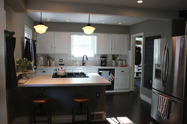 Schoolhouse Pendants  Transitional  kitchen  The Fat