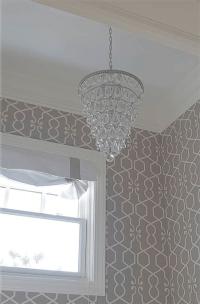 Gray Trellis Wallpaper - Transitional - bathroom - Belmont ...