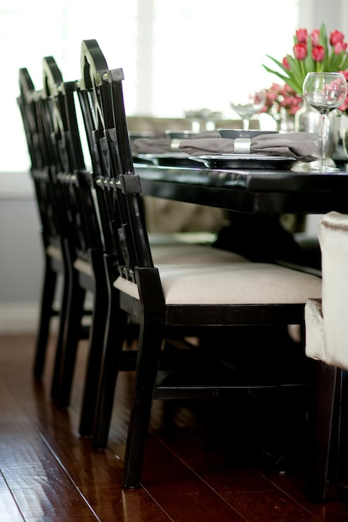 distressed black dining chairs wheelchair wheels chinoiserie transitional room belmont