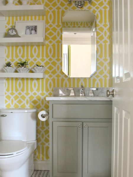 yellow and grey bathroom mirror Imperial Trellis Stencil - Contemporary - bathroom - Benjamin Moore Sunny Afternoon - Sabbe