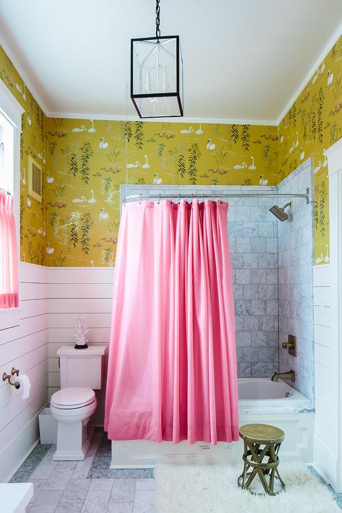Pink Shower Curtain  Eclectic  bathroom  Sherwin
