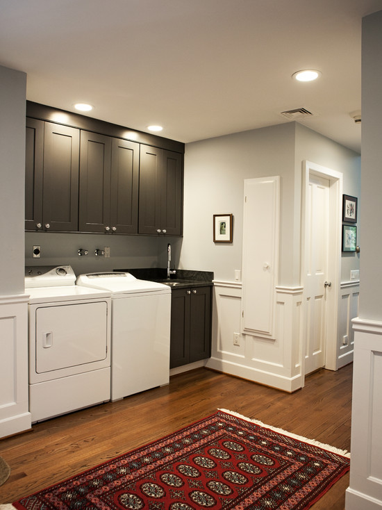 Gray Laundry Room Cabinets  Traditional  laundry room