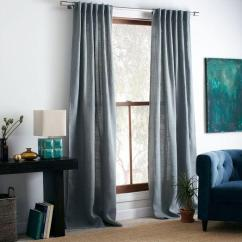 Photos Of Living Rooms With Brown Leather Furniture Room Burlap Curtain - Blue Sage West Elm