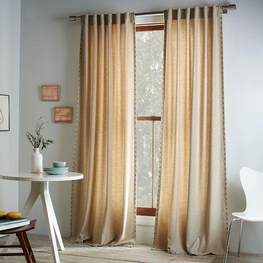 Studded Wool Curtain Heathered Oatmeal West Elm