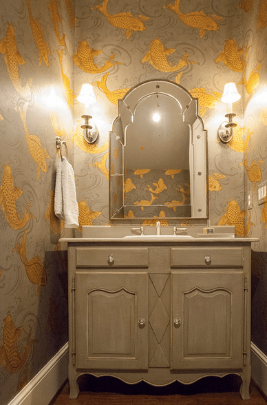 Gray and Gold Powder Room  Transitional  bathroom  Lucy