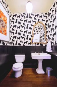 Dog Flock Velvet Wallpaper - Eclectic - bathroom - Lucy ...