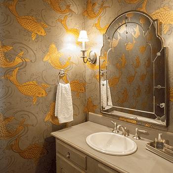 Koi Fish Wallpaper  Transitional  bathroom  Veranda