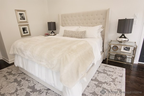ivory and beige bedroom Vetvet Tufted Headboard - Transitional - bedroom - A Well Dressed Home