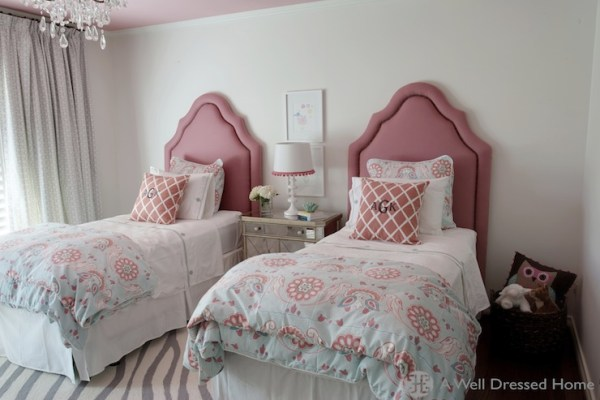 gray and pink twin girl bedroom ideas Pink Headboards - Transitional - girl's room - A Well