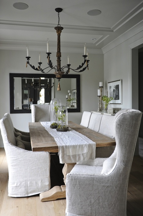 Slipcovered Dining Chairs  French  dining room  Tracey