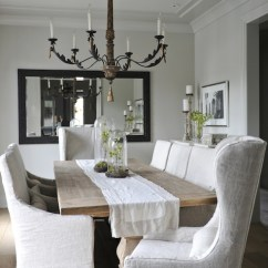 Linen Dining Chair Covers Ergonomic Lumbar Support Slipcovered Chairs - French Room Tracey Ayton Photography
