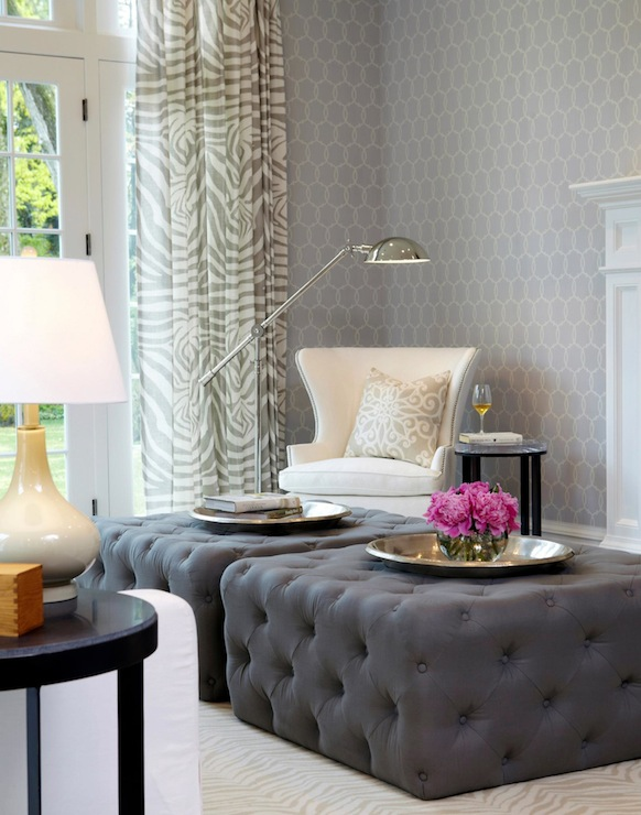 gray tufted ottoman transitional