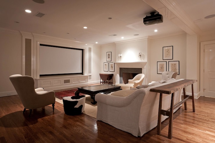 black and white cowhide chair louis 16th movie room - transitional media jcs construction