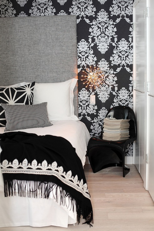 Black Damask Wallpaper  Contemporary  bedroom