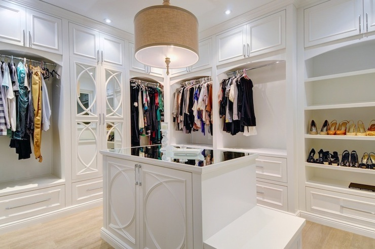 White Walk In Closet With Turquoise Blue Accents
