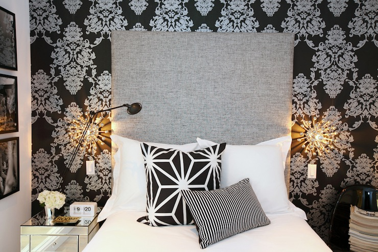 Black and White Damask Wallpaper  Contemporary  bedroom