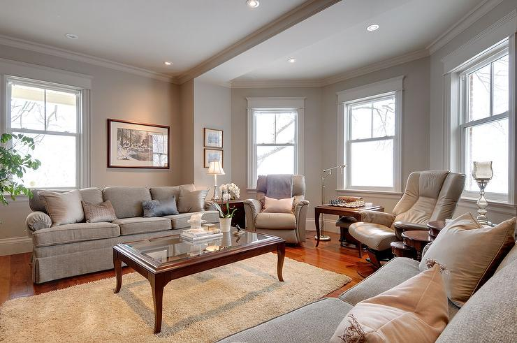 Traditional Living Room with Benjamin Moore Smokey Taupe