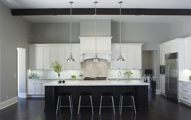 white kitchen island l shaped black and cabinets - contemporary ...
