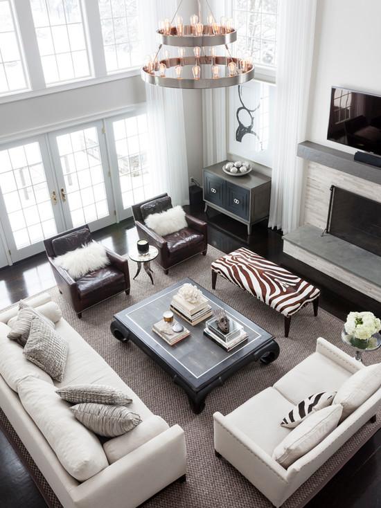 Zebra Bench  Transitional  living room  Susan Glick Interiors