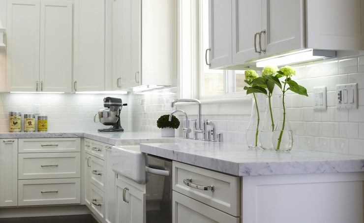 Honed Carrera Marble Transitional Kitchen Fautt Homes