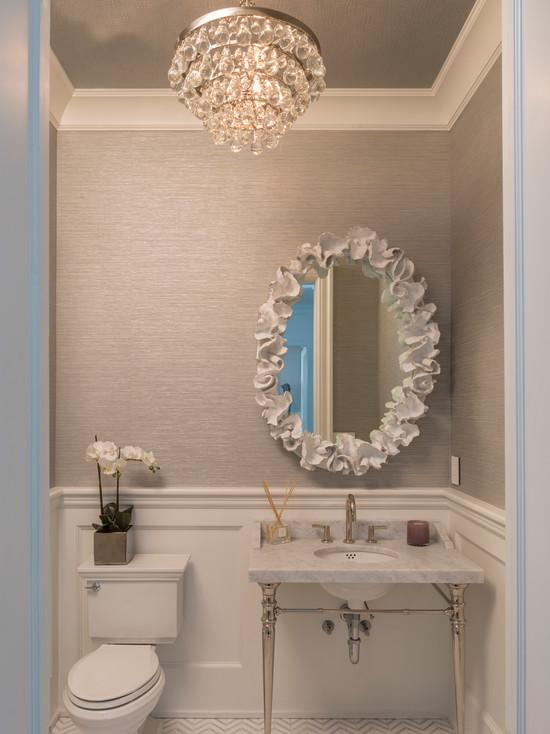 Powder Room Wainscoting  Contemporary  bathroom  Material Girls