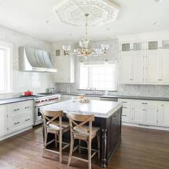 Chandelier Over Kitchen Island Alder Cabinets White Spring Granite Counters Design Ideas