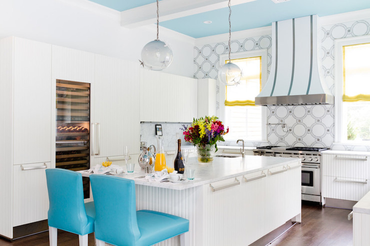 wallpaper kitchen backsplash delta faucet hose replacement turquoise bar stools - contemporary duneier design