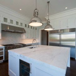 Kitchen Refrigerator Island With Shelves Wine Fridge In - Transitional ...