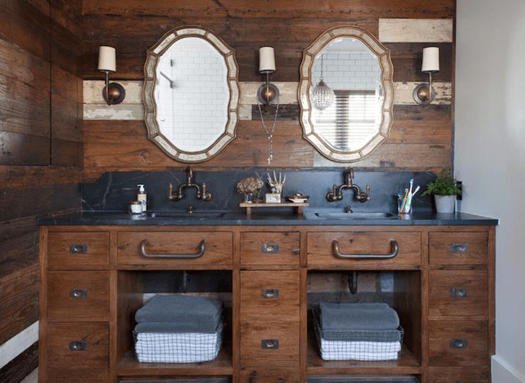 bathroom with soapstone countertops