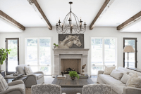 Living Room Wood Beams - Transitional - living room ...