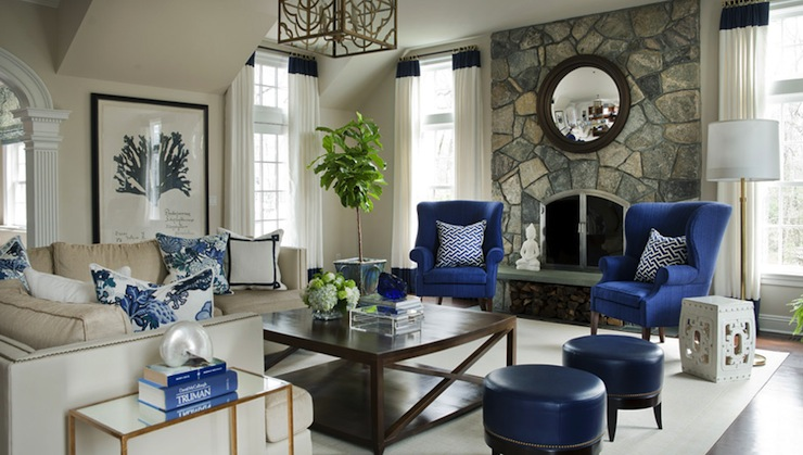 navy blue wingback chairs ergonomic chair wood transitional living room morgan harrison home