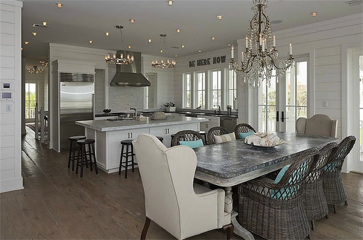 zinc kitchen table counter overhang dining cottage room har