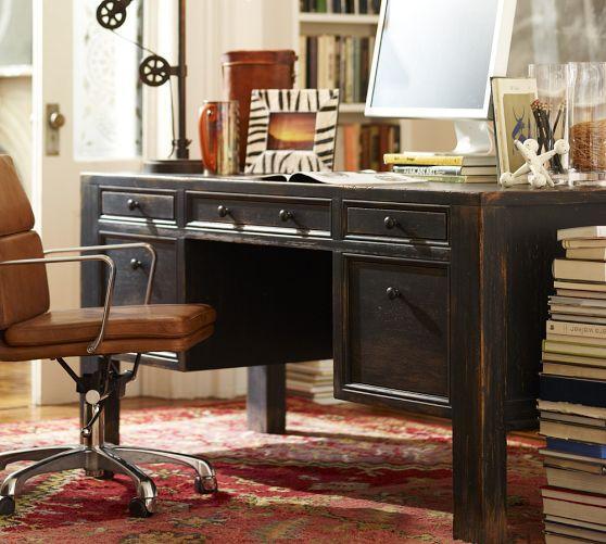 Distressed Black Vintage Large Desk