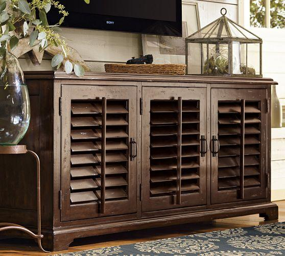 Traditional Style Brown Shutter Doors Large Media Console