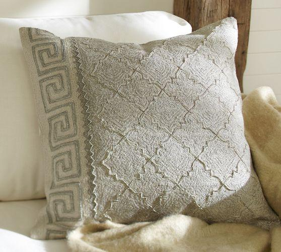pottery barn living room furniture sets small indian interior designs gray greek key embroidered pillow cover
